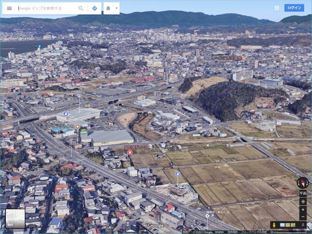 Googleマップ Earthビュー 雲南石油キグナス松江SSから松江市中心部