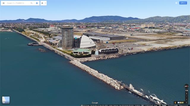 Googleマップ Earthビュー 境港市 夢みなとタワー