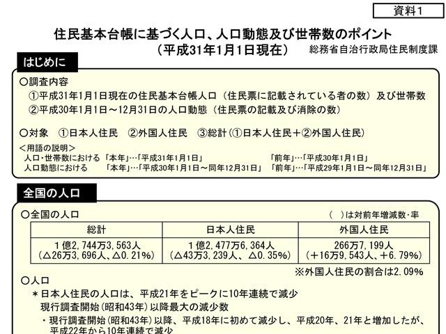 住民基本台帳に基づく人口、人口動態及び世帯数(平成31年1月1日現在)