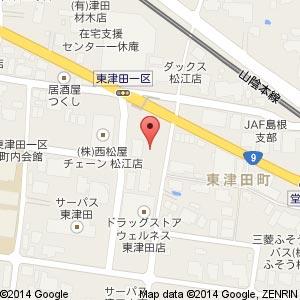 コインランドリーデポ 松江東津田町店の地図