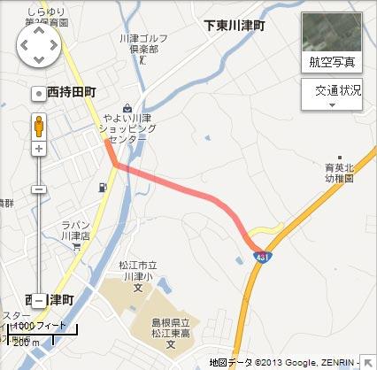 松江島根線 西川津工区の地図