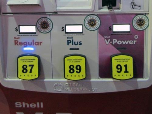 アメリカのガソリンスタンド オクタン価表示