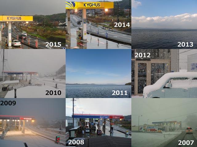 2007年~2015年大晦日の天気