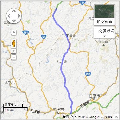 尾道松江線 松江自動車道 吉田掛合IC~三次東IC・JCTの地図