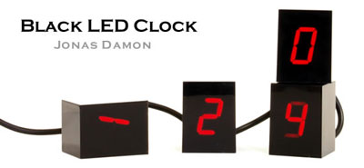 Black LED Clock
