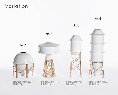 給水塔やガスタンクをモチーフにしたフラワーベース BOZU INDUSTRY COLLECTION