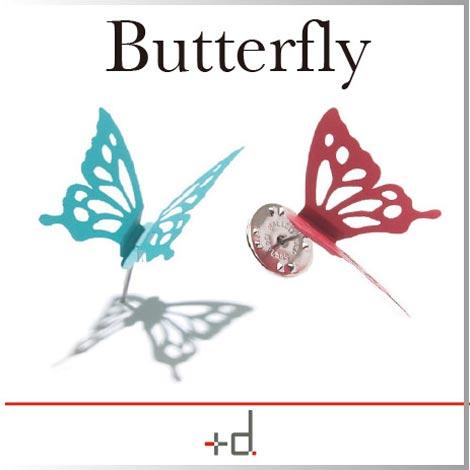 プッシュピンとしても使える羽ばたく蝶のピンバッジ アッシュコンセプト Butterfly