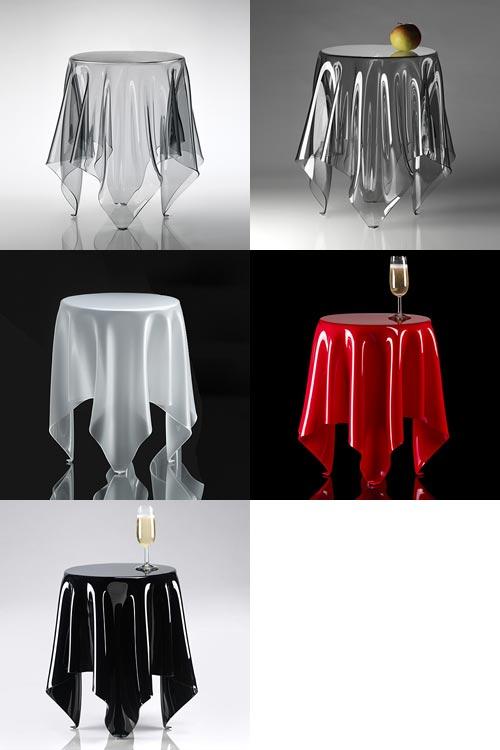 テーブルクロスだけでできたサイドテーブル essey illusion