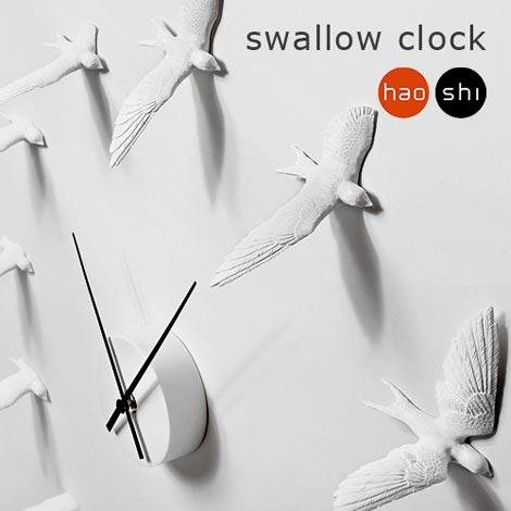 12羽のツバメが壁を飛翔するアートクロック haoshi(ハオシ) Swallow Clock(スワロークロック)
