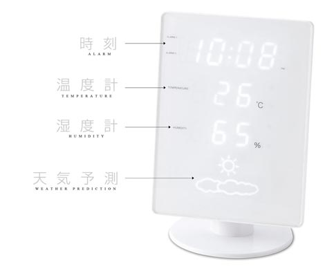 ホワイト×ホワイトLEDな温湿時計 (イデアレーベル)「FLAT(フラット)」