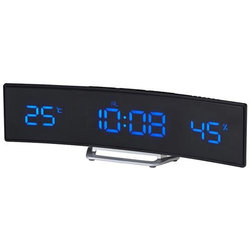文字盤が緩やかなカーブを描くLED時計 電波カーブLEDクロック IDEA LABEL