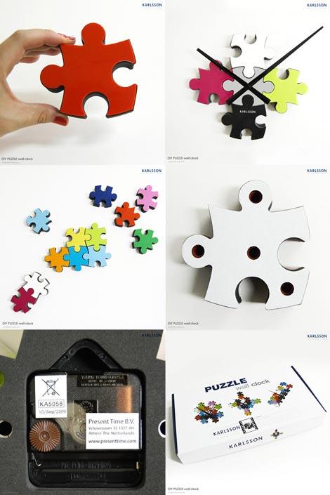 パズルのピースで時計を作る Karlsson(カールソン)DIY PUZZLE wall clock(ディーアイワイ パズルウォールクロック)