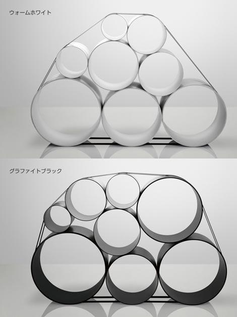 大小の円筒を組み合わせて作るストレージシステム muuto OTO 100