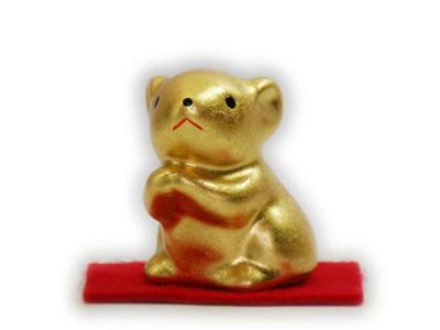 ねずみの置物 純金箔