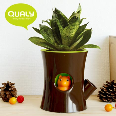 Qualy(クアリー)LOG&SQUIRREL self watering plant pot