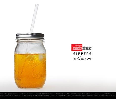 メイソンジャーにストローがついたグラス Rednek Sippers Glass