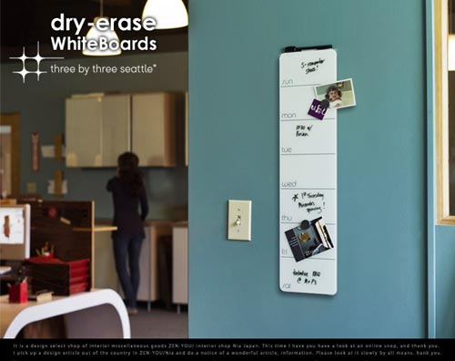 Three by Three Seattle(スリー・バイ・スリー・シアトル) Dry-Erase White Boards(ドライイレース ホワイトボード)