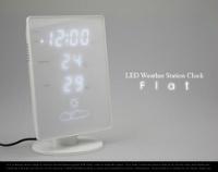 ホワイト×ホワイトLEDな温湿時計 IDEA LABEL「フラット」