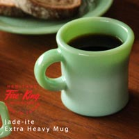 復刻版Fire King 半透明の翡翠色ミルクガラス Fire King Japan Jade-ite Extra Heavy Mug