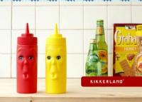 ビミョーな顔のケチャップ&マスタードボトル kikkerland max and morris