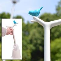 持ち手にちょこんと小鳥がとまったトイレブラシ hoobbe PEEKING BIRDS Toilet Brush